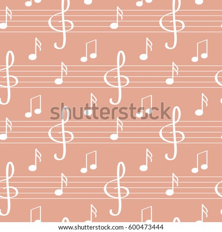 Seamless pattern with notes, treble clef, stave. Musical background.