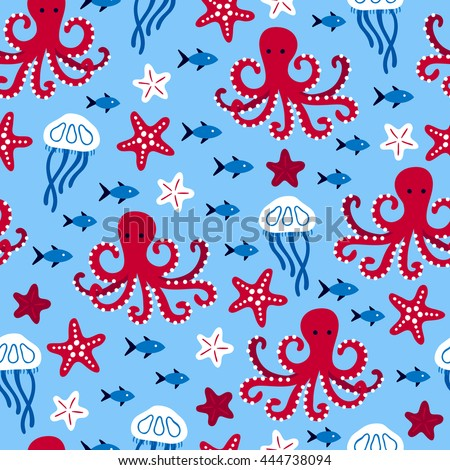 seamless pattern with octopus