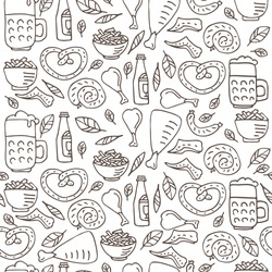 Seamless pattern with Oktoberfest food, beer mugs, chicken grill, sauerkraut, bavarian pretzel and sausages. October beer festival in the Munich, Germany. Vector illustration.