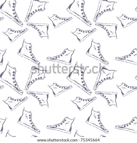 Seamless pattern with oldschool hand-drawn sneakers