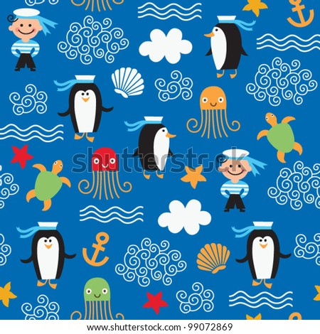 seamless pattern with on the sea theme