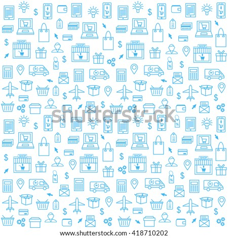 Seamless Pattern With Online Shopping Icons in Thin Line Style. Collection of Line Web Icons of Online Shopping, Ecommerce, Internet Shopping. Vector template for your design.