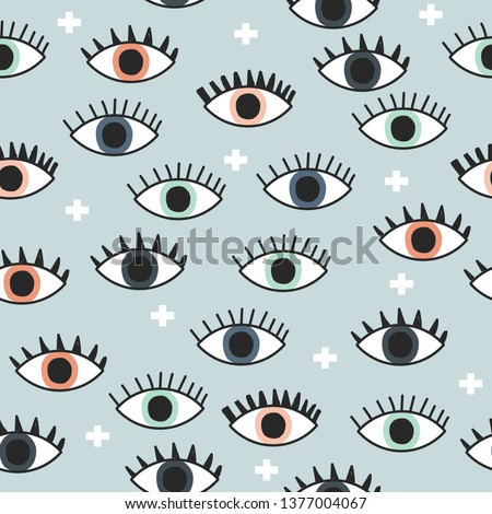 Seamless pattern with open eyes and cross. Vector hand drawn illustration.