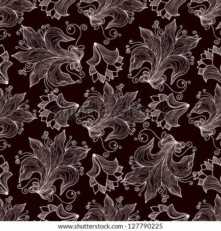Seamless pattern with openwork flowers