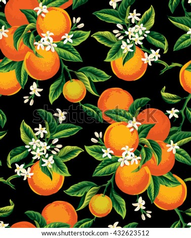 Seamless pattern with orange fruits, flowers and leaves on a black background. Vector illustration.