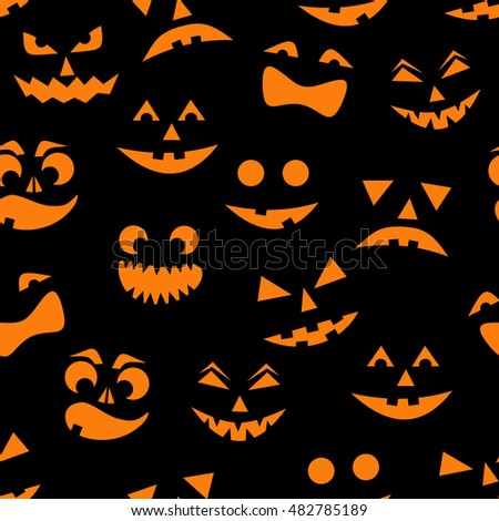Seamless pattern with orange halloween pumpkins carved faces silhouettes on black background. Can be used for scrapbook digital paper, textile print, page fill. Vector illustration