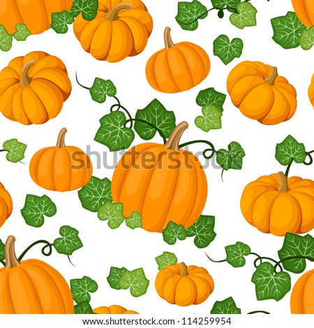 Seamless pattern with orange pumpkins and green leaves. Vector illustration.