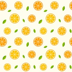 Seamless pattern with oranges and leaves. Vector texture illustration.