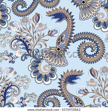 seamless pattern with ornate paisley and decorative curls, flowers tulips in blue beige tint on a light blue background