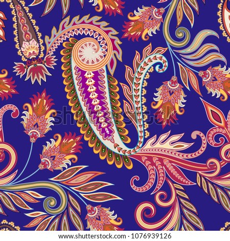 seamless pattern with ornate paisley and decorative elements, curls with leaves on a purple background