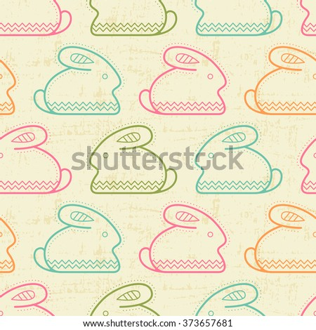 Seamless pattern with outlined rabbits (Easter bunny) in creative ethnic style. Happy babyish color palette