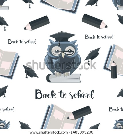 Seamless pattern with owl with an open notebook and a pencil. Back to school. Design for the cover of notebooks, notebooks, children's textiles, packaging materials.