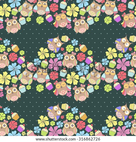 seamless pattern with owls and