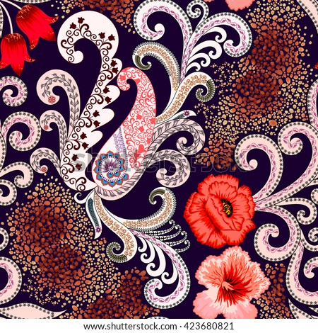 seamless pattern with paisley, swirls, decorated with leopard skin fragments, peach hibiscus flowers, red poppies and tulips on a dark purple background