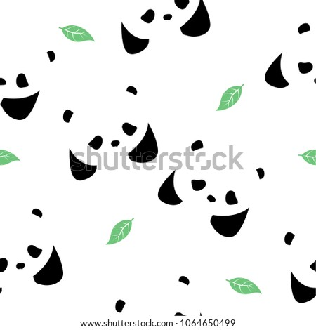 Seamless pattern with pandas and leaves.