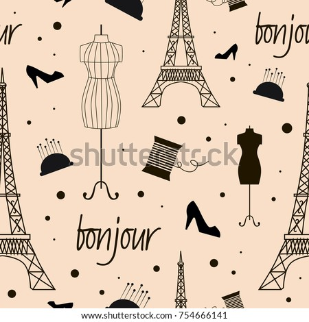 Seamless pattern with Paris landmarks. Vector illustration