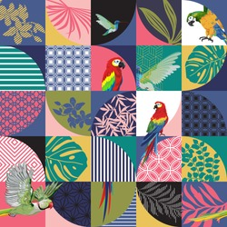 Seamless pattern with Parrot,Toucans,Hummingbird and tropical palm leaves. Exotic Hawaii art background is tropical trendy. Design for fabric, textile, wrapping paper and other decoration.