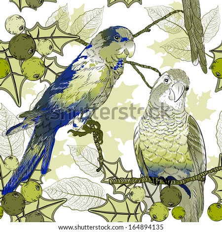 Seamless pattern with parrots and berries