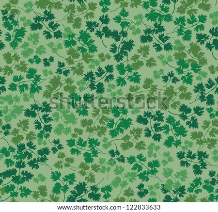 seamless pattern with parsley leaves on green background
