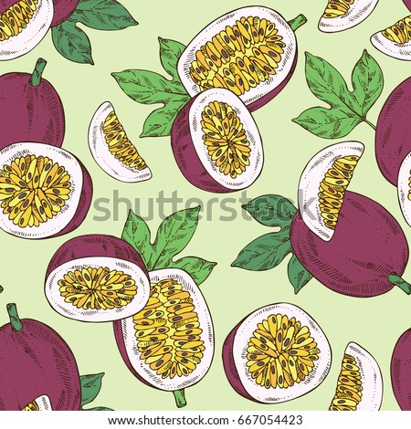 Seamless pattern with passion fruit: fruit, passion slice and leaves. Vector hand drawn illustration.