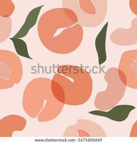 Seamless pattern with peach apricot Vector hand draw peach background  for wallpaper, cover, fabric, textile