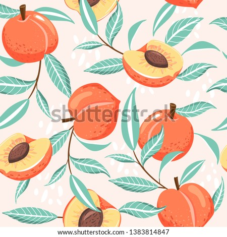 Seamless pattern with peach, slices, green leaves and abstract element. Summer vibes. Vector texture for textile, postcard, wrapping paper, packaging etc. Vector illustration.