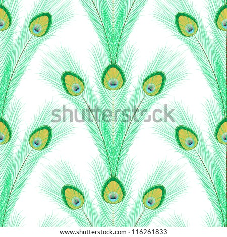 Seamless pattern with peacock feathers on white