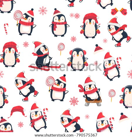 Seamless pattern with penguins. Cute penguin cartoon illustration. Christmas animals pattern.