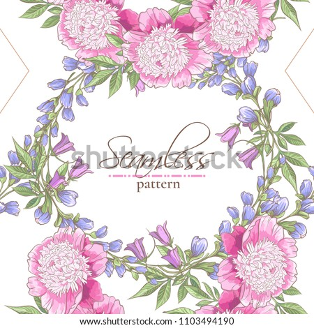 Seamless pattern with peony, bluebells and field flowers on white background #1103494190