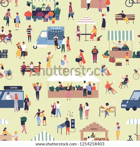 Seamless pattern with people buying and selling goods at street food seasonal market. Backdrop with men and women walking between stalls or kiosks at outdoor fair. Flat cartoon vector illustration.