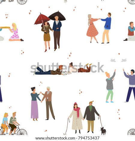 Seamless pattern with people in love. Valentine's Day. Happy couples with different activities. Vector illustration