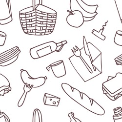 Seamless pattern with picnic baskets, cutlery and food. Contour drawings on a white background.