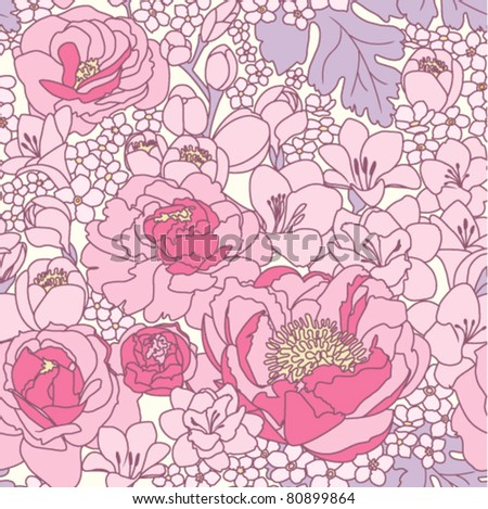 seamless pattern with pink floral ornament