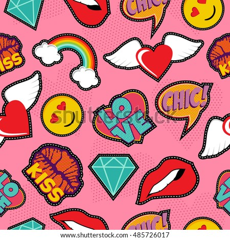 seamless pattern with pink girl