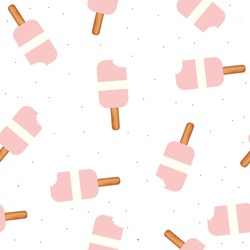 Seamless pattern with pink ice cream. Vector hand drawn illustration.