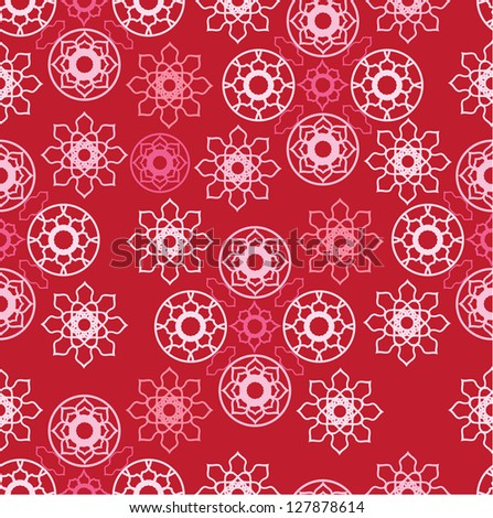 seamless pattern with pink ornamental circles