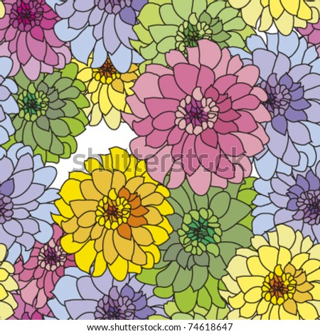 seamless pattern with pink yellow blue dahlia, vector