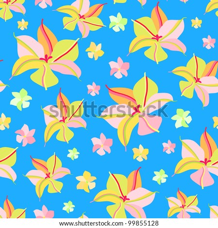 Seamless Pattern with Pink Yellow Flowers on Blue Background. Vector Floral Illustration