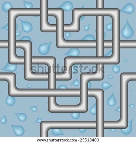 Seamless pattern with pipes on blue background with drops