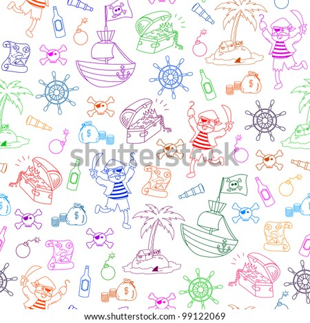 seamless pattern with pirate themed doodles - stock vector