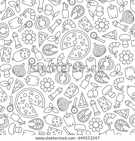 seamless pattern with pizza design elements