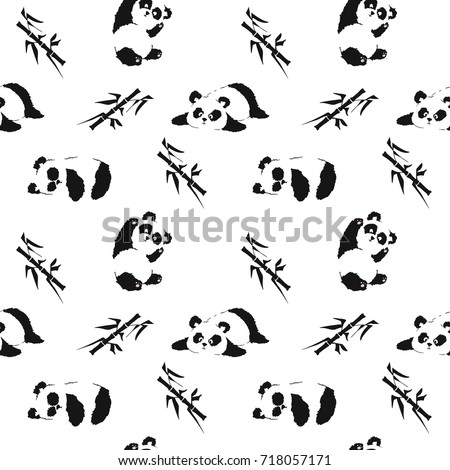 Seamless pattern with playing pandas and bamboo. Hand draw vector illustration