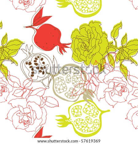 seamless pattern with pomegranate and roses