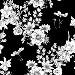 Seamless pattern with poppy flowers daffodil, anemone, violet