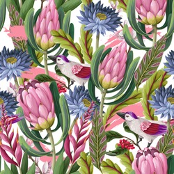 Seamless pattern with protea, tropical flowers and birds . Trendy floral vector print