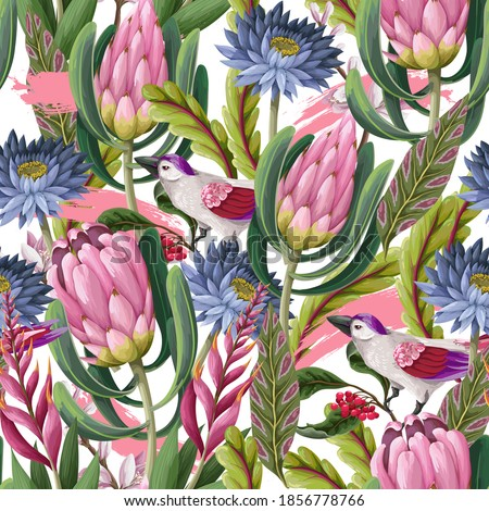 Seamless pattern with protea, tropical flowers and birds . Trendy floral vector print stock photo