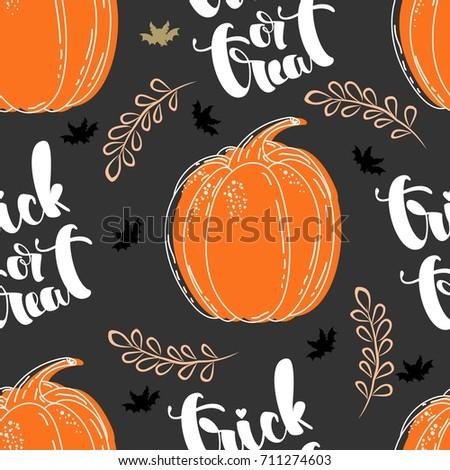 Seamless pattern with pumpkins. Halloween. Vector illustration.