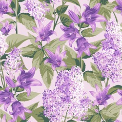 Seamless pattern with purple Campanula and Lilac - flowers, isolated on light background. Hand-drawn illustrations.