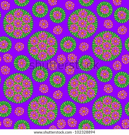 Seamless pattern with purple flowers on background, vector illustration