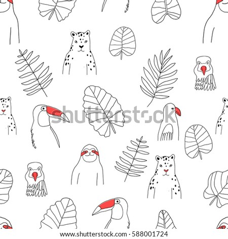 Seamless pattern with rain forest and tropical animals. Fauna characters, beautiful leaves.
